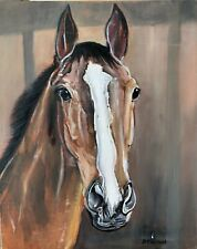 Equine,Equestrian,horse,racing,Kauto Star Original Oil On Canvas Art ,