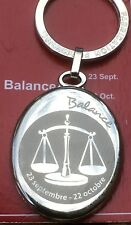 French 1970s Quality Keyring~Libra Zodiac Sign ~Silver Metal~ Made In France~New