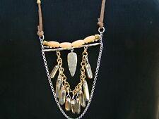 "Long Adjustable Necklace N3398 Silpada Silver, Brass, Quartzite, Pyrite,""Sedona"""