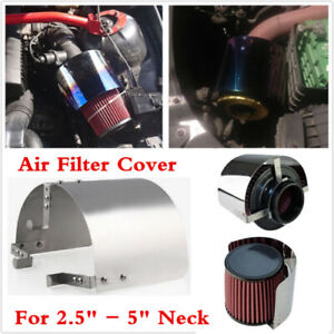 Stainless Steel Racing Car Cold Air Intake Cone Sport Air Filter Cover Shield