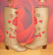 SUPERB VINTAGE BEIGE LEATHER  RIDING STYLE EMBROIDERED  BOOTS  UK 3 *16*