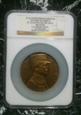 1914 Dated France Bronze VICTORY OF OURCQ 68.2mm NGC MS64BN  Medal  MF
