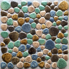 Fambe Beige Porcelain Pebbles Turquoise Brown Shower Wall Floor Tiles Mosaics