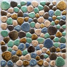 Fambe Beige Porcelain Pebbles Turquoise Brown Shower Wall Floor Tiles Mosaics