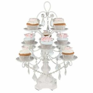 12-Piece Crystal-Draped Cupcake Stand | White | Madeleine Collection CS302MW