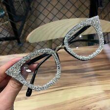 Women Trendy Cat Eyes Wear Glasses Frames Retro Brand Designer Silver Gold Plain