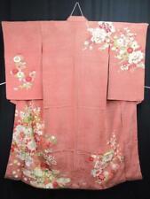 N2-4503a600 Silk Vintage Japanese kimono Robe Dress Hand painted Flower