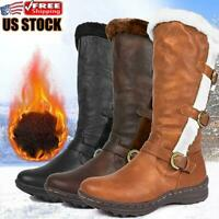 Women's Casual Fur Lined Mid Calf Boots Ladies Snow Winter Warm Comfy Shoes Size