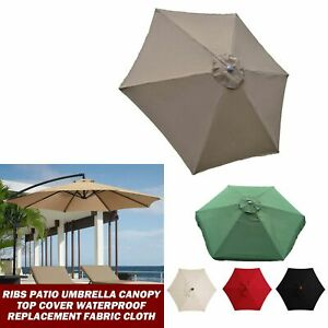 6 Ribs Patio Umbrella Canopy Top Cover Waterproof Replacement Fabric Cloth 2m/3m