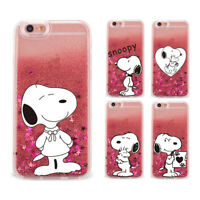 Lovely Snoopy Quicksand Glitter Dynamic Liquid Case Cover For iPhone Samsung LG