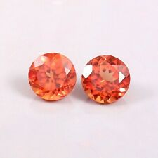 Natural Ceylon Orange Fanta Sapphire Loose Round Gemstone Cut Matched Pair 7x7MM