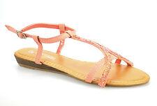 Womens Ladies Low Flat Wedge Heel Slingback Buckle Summer Sandals Shoes Size UK 5 Pink