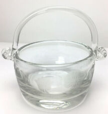 Blown Clear Glass Basket Etched with Flowers and Swirl Design