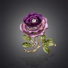 Rose Flower Crystal Brooch Rhinestone Wedding Bridal Pin Garment Decoration