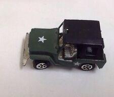 Vintage Metal Tin Army Green Jeep