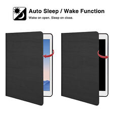 For iPad Air 2 Case Cover PU Leather Slim AUTO Wake Sleep Stand Protective Black