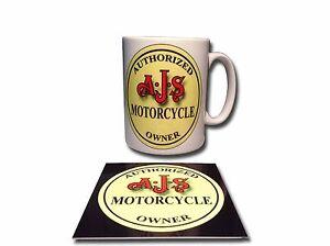 AJS MOTORCYCLE OWNER CERAMIC MUG PLUS FREE ENAMELLED FINISH COASTER,RETRO