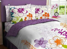 Purple & Green Flowers Teen QUEEN Comforter Set, 7 Piece Bed In A Bag, NEW