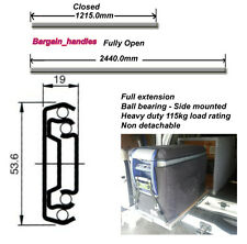 HEAVY DUTY 115Kg 1200mm ball bearing fridge / drawer runner / solar panel slides