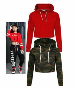 New Kids Girls Crop Top Hoodie Plain Pullover Sweatshirts Hooded Jumpers