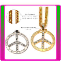 Mens Metal Peace Sign Necklace Silver Gold 60s 70s Ladies Hippie Hippy Boho