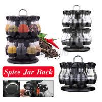 2 Tier 8/16 Jar Rotating Spice Bottles Rack Storage Holder Condiment Container