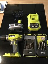 Ryobi Drill 18v. One + Cordless with separate battery, charger and drill bits.