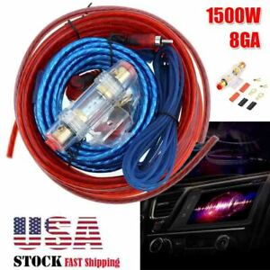 1500W 8 Gauge Amp Kit Amplifier Install Wiring Complete 8 Ga Car Wires Red Blue