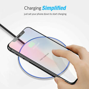 LED Qi Wireless Charger Fast Charge Pad For For Motorola Droid Turbo 2 (XT1585)