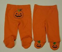 NWT Koala Kids Halloween Pumpkin Bottom & Feet Footed Pants Baby Infant 0-3 M