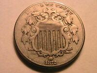 1872 Shield Nickel 5C Nice Ch VF+/ XF Toned Original Grey US Shield 5 Cent Coin