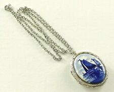 Vintage DELFT Blue White Porcelain Locket Pendant Necklace Signed Holland #199