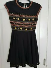 Ladies black embroidered dress size 8 from Topshop
