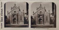 Verona Cattedrale Façade Italia Foto Stereo Vintage Analogica