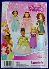 "Simplicity 18"" Doll Disney Princess Dress Sewing Pattern American Girl 1219 New"