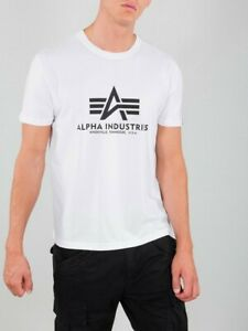 Alpha Industries Men's Basic White Cotton T-Shirt Size XXL (2XL) Short Sleeve