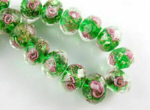 10mm 10pc Rondelle Glass Crystal Jewelry Rose Flower Inside Lampwork Loose Beads