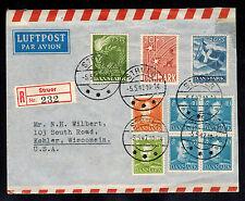 1947 Struer Denmark first day cover to USA Comp Set # B15-B17