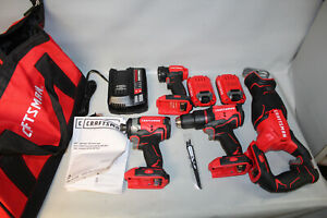 Craftsman 20V Brushless 4 Tool Combo Kit Impact Driver / Drill / Saw / Light