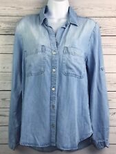 d3f0304549d3 Cloth   Stone Alanis Blue Chambray Tab Sleeve Top Womens Size Small