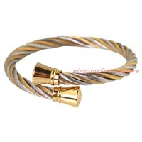 Charms Stainless Steel Silver Gold Wire Chain Tone Women's Cuff Bracelet Bangle
