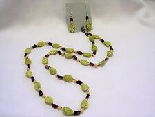"""Garnet Gemstone Bead Necklace & Earring 24"""" Hand Knotted Yellow Turquoise Leaves"""