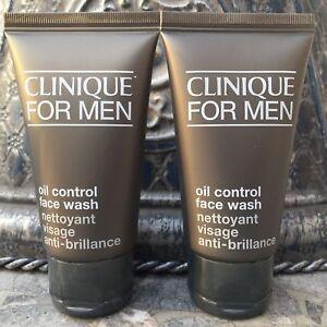 Lot 2x Clinique For Men OIL CONTROL Face Wash Travel 2 x 1.7oz each= 3.4oz total