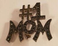 Vintage #1 MOM Pin Silvertone Mother's Day Brooch Rhinestone Antiqued Gray