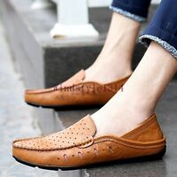 Mens Flats Slip On Moccassins Gommino Casual Leather Loafers Breathable Shoes SZ