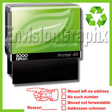 RETURN TO SENDER Self Inking Rubber Stamp in Red Recycled Green Line P40 Stamper