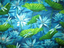 Dragonfly Dragon Fly Water Lilly Metallic Gold Blue Green Cotton Fabric BTHY