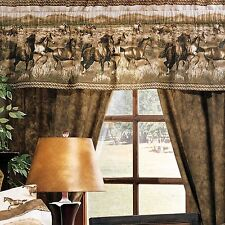 "Blue Ridge Trading Wild Horses Lined Curtain w/valance 42"" x 84"" Country Western"