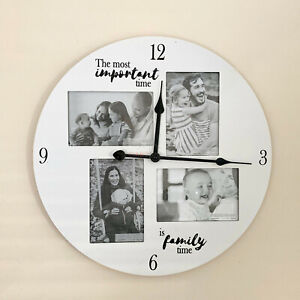 Vintage White Wooden Family Time Wall Mounted Multi Picture Photo Frame Clock