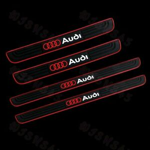 For Audi Black Rubber Car Door Scuff Sill Cover Panel Step Protector 4PCS SET